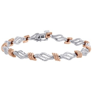 Other 10k White Rose Gold Genuine Diamond Rope Milgrain Link Bracelet 7 - 12 Ct.