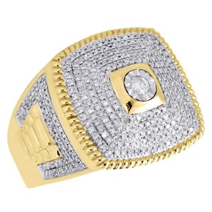 10k Yellow Gold Real Diamond Square Frame Iced Step Shank Mens Pinky Ring 1 Ct.