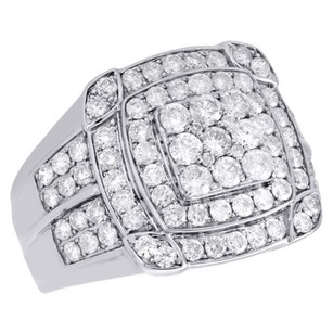 Mens 14k White Gold Genuine Diamond Square Triple Frame Pinky Ring Band 2.66 Ct.