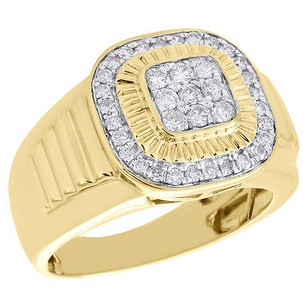 Other 10k Yellow Gold Genuine Diamond Fluted Square Tier Bezel Pinky Ring Band 34 Ct.