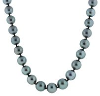 18k Yellow Gold 10mm Tahitian Pearls Diamond Necklace
