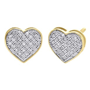 10k Yellow Gold Real Pave Diamond Heart Studs Ladies 8.85mm Earrings 0.17 Ct.
