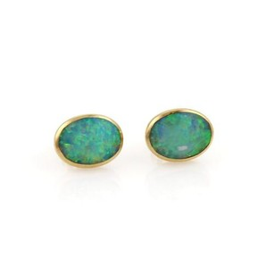 Other Fire Opal Oval Shape Stud Earrings In 14k Yellow Gold