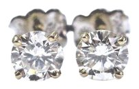 Other Fine Round Cut Diamond 4-prong Yellow Gold Push Back Stud Earrings 1.00ct