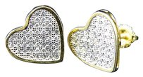 Sterling Silver Lab Diamond Heart Stud Earrings In Yellow Gold Finish 11.5mm