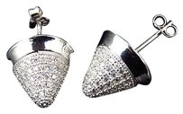 Other .925 Silver Lab Diamond Cluster Cone Style Earrings In White Gold Finish 13mm