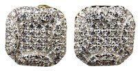 Yellow Gold Finished Sterling Silver Square Lab Created Diamond Stud Earrings.