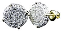 Sterling Silver White Lab Diamond Disc Earrings In Yellow Gold Finish 12mm