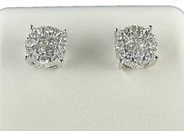 14k,Mensladies,7,Mm,White,Gold,Princess,Cut,Diamond,Round,Stud,Earrings,12,Ct