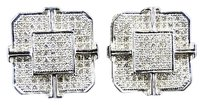 10k,Mens,White,Gold,Xl,Genuine,Diamond,Octagon,Stud,Earrings,13mm,34,Ct