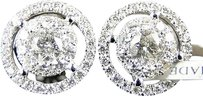Mens,Ladies,14k,White,Gold,Solitaire,Look,Vs,Diamond,Stud,Halo,Earrings,1.5,Ct
