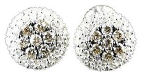 Ladies,Round,Cut,Pave,Cluster,Brown,Brown,Diamond,Stud,Earrings,1,Ct