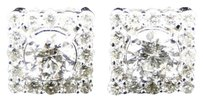 14k,Mens,Ladies,White,Gold,Genuine,Diamond,Solitaire,Jacket,Studs,Earrings,1.7ct