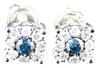 Mens,Ladies,Round,Cut,Solitaire,Blue,And,White,Diamond,Stud,Earrings,.53,Ct