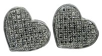 Other Womens,Heart,Pave,Black,Diamond,13,Mm,Stud,Earrings