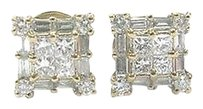 18kt,Princess,Round,Baguette,Diamond,Yellow,Gold,Stud,Earrings,1.00ct