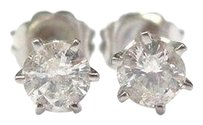 Fine Round Cut Diamond Stud Earrings Wg .66ct