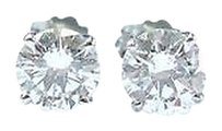 Fine Round Cut Diamond Stud Earrings .66ct Push Back White Gold G-si2