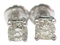 Fine Round Cut Diamond Stud Earrings 14kt Wg .50ct