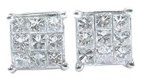 Platinum,Princess,Cut,Diamond,Invisible,Set,Square,Stud,Earrings,1.08ct