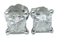 Fine Princess Cut Diamond Stud Earrings White Gold 1.00ct J-si3