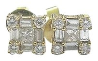 18kt,Multi,Shape,Diamond,Yellow,Gold,Square,Stud,Earrings,.60ct