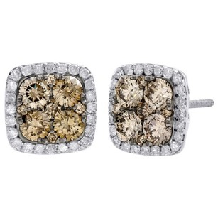 14k White Gold Brown Diamond Flower Studs Square Halo 10.5mm Earrings Ct.
