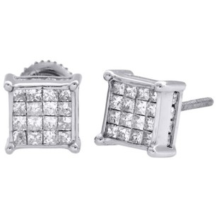 14k White Gold Princess Diamond Square Studs Prong 7.5mm 3d Earrings 0.75 Ct.
