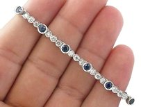 18kt,Gem,Blue,Sapphire,Diamond,White,Gold,Bezel,Set,Tennis,Bracelet,4.64ct,7