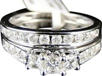 10k,White,Gold,Princess,Cut,Diamond,Anniversary,Engagement,3,Stone,Duo,Ring,Set