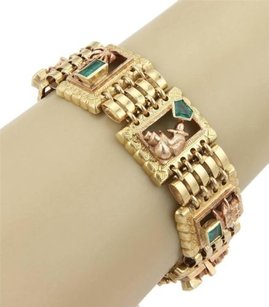 Estate,18k,Two,Tone,Gold,Multi,Themed,Link,Bracelet,With,4.00ct,Emeralds