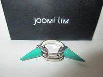 Joomi Lim Silver Double Spike Link Ring Green
