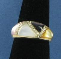 Kabana Mother Of Pearl Ring 0.37cts Diamonds Multi-color 14k Yg