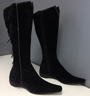 Other Vs Sequoia Suede Side Zip Fringe Accent Knee High B3310 Black Boots