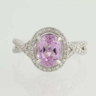 Kunzite Diamond Ring - 14k White Gold 14 Halo 2.68ctw