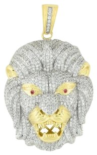 Other Lab Diamond Lion Pendant 925 Silver Ruby Eyes Fully Iced Out Hip Hop Rapper Wear