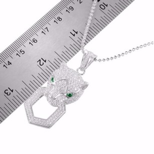 Lab Emerald Eyes Panther Silver 925 Pendant Iced Lab Diamond Charm Chain