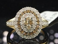 Ladies 10k Yellow Gold Brown White Diamond Engagement Fashion Cocktail Ring