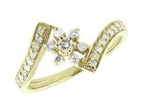 Other Ladies 10k Yellow Gold Chevron Style Flower Genuine Diamond Fancy Ring 0.35ct
