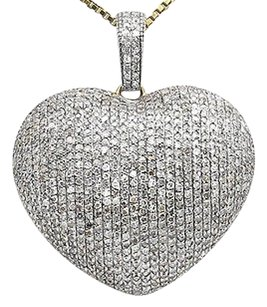 Ladies 10k Yellow Gold Puff Heart Genuine Diamond 1 Inch Pendant Charm 1.45ct.