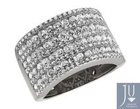 Ladies 14k White Gold Multi Rows Genuine Diamond Engagement Ring Band 1.0ct