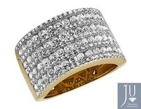 Other Ladies 14k Yellow Gold Multi Rows Genuine Diamond Engagement Ring Band 1.0ct