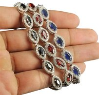 Ladies .925 Sterling Silver Marquise Cut Lab Black Red Blue Diamond Bracelets
