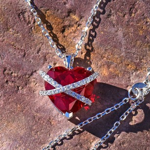 Other Ladies Heart Pendant And Chain Sterling Silver Red Ruby Simulated Diamond