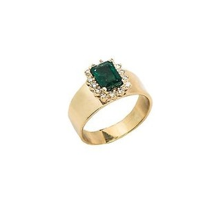 Ladies Ring 14k Yellow Gold Appx 1.5ct Emerald 0.28ct Diamonds 4.3 Gr