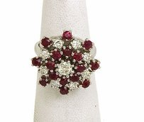 Lavish 14k 2.50ct Diamonds Rubies Cocktail Ring