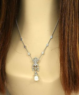 Other Lavish 18k White Gold Diamonds South Sea Pearl Ladies Dress Cocktail Necklace