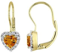 Other 10k Yellow Gold Garnet 17 Ct Diamond Heart Leverback Stud Earrings G-h I2-3