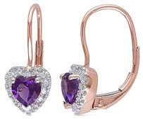 Other 10k Pink Gold 17 Ct Diamond Tw And 45 Ct Tgw Amethyst Heart Earrings Gh I2i3