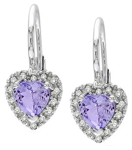 Sterling Silver 17 Ct Diamond Tw And 45 Ct Tgw Tanzanite Heart Earrings Gh I3